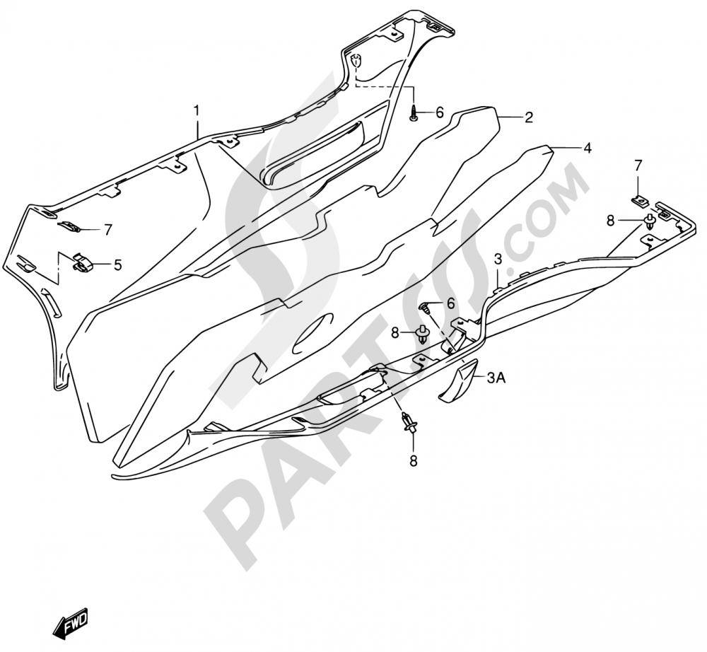 49 - SIDE LEG SHIELD (MODEL K3/K4) Suzuki BURGMAN AN650 2003