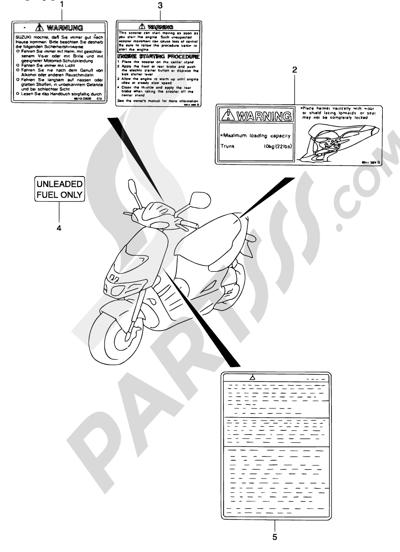 Suzuki KATANA AY50 2001 38 - LABEL (MODEL K1/K2)