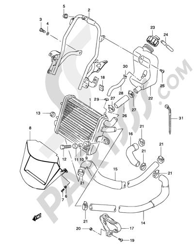Suzuki KATANA AY50 2001 10 - RADIATOR (MODEL  AY50WR K1/K2/AY50W K3/K4)