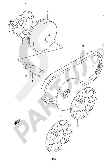 Suzuki KATANA AY50 2001 12D - TRANSMISSION (1) (MODEL AY50 K2, SEE NOTE)