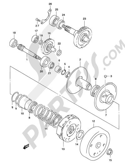 Suzuki KATANA AY50 2001 13A - TRANSMISSION (2) (MODEL AY50W K3/K4)