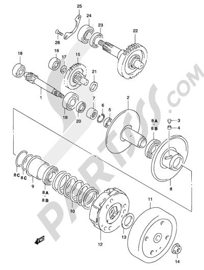 Suzuki KATANA AY50 2001 13B - TRANSMISSION (2) (MODEL AY50 K1/K2)