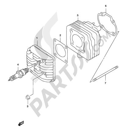 Suzuki KATANA AY50 2001 1B - CYLINDER (MODEL AY50 K1/K2)