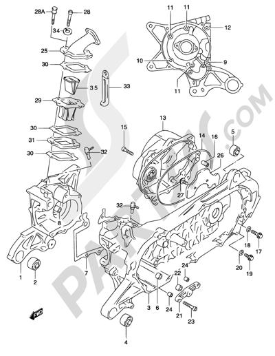 Suzuki KATANA AY50 2001 2 - CRANKCASE (MODEL AY50WR K1)