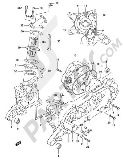 Suzuki KATANA AY50 2001 2A - CRANKCASE (MODEL AY50WR K2, SEE NOTE)