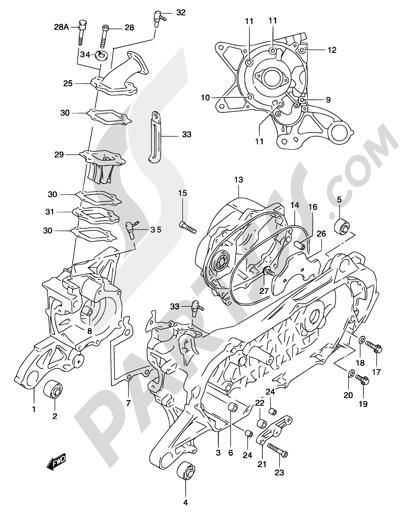 Suzuki KATANA AY50 2001 2B - CRANKCASE (MODEL AY50W K3/K4)