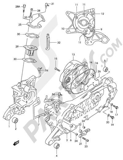 Suzuki KATANA AY50 2001 2D - CRANKCASE (MODEL AY50 K2, SEE NOTE )