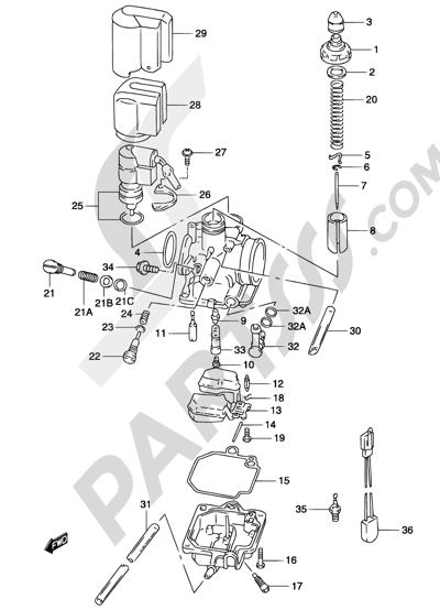Suzuki KATANA AY50 2001 5A - CARBURETOR (MODEL AY50W K3/K4)