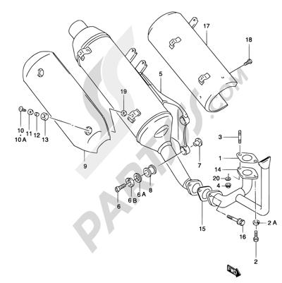 Suzuki KATANA AY50 2001 7 - MUFFLER   (MODEL K1/K2 EXCEPT P26 AND AY50 P39)