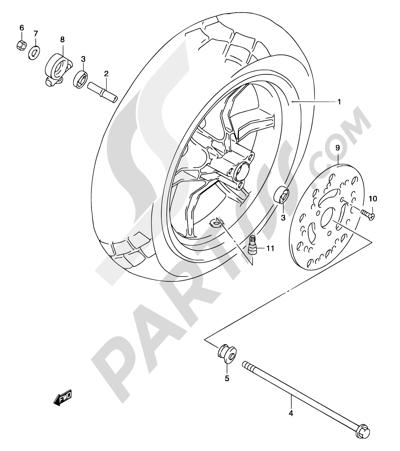 Suzuki KATANA AY50 2001 41 - FRONT WHEEL (MODEL K1/K2/K3)