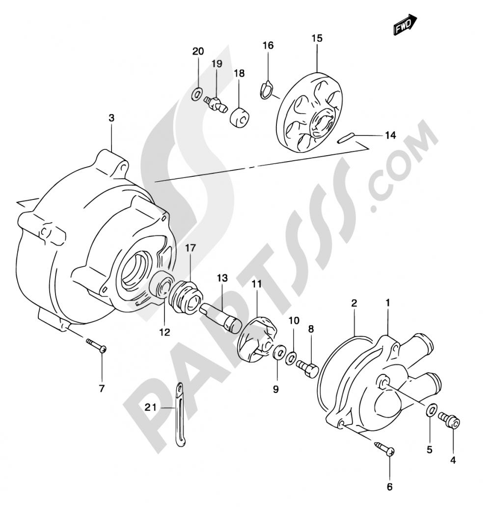 9 - WATER PUMP (MODEL AY50WR K1/K2/AY50W K3/K4) Suzuki KATANA AY50 2002