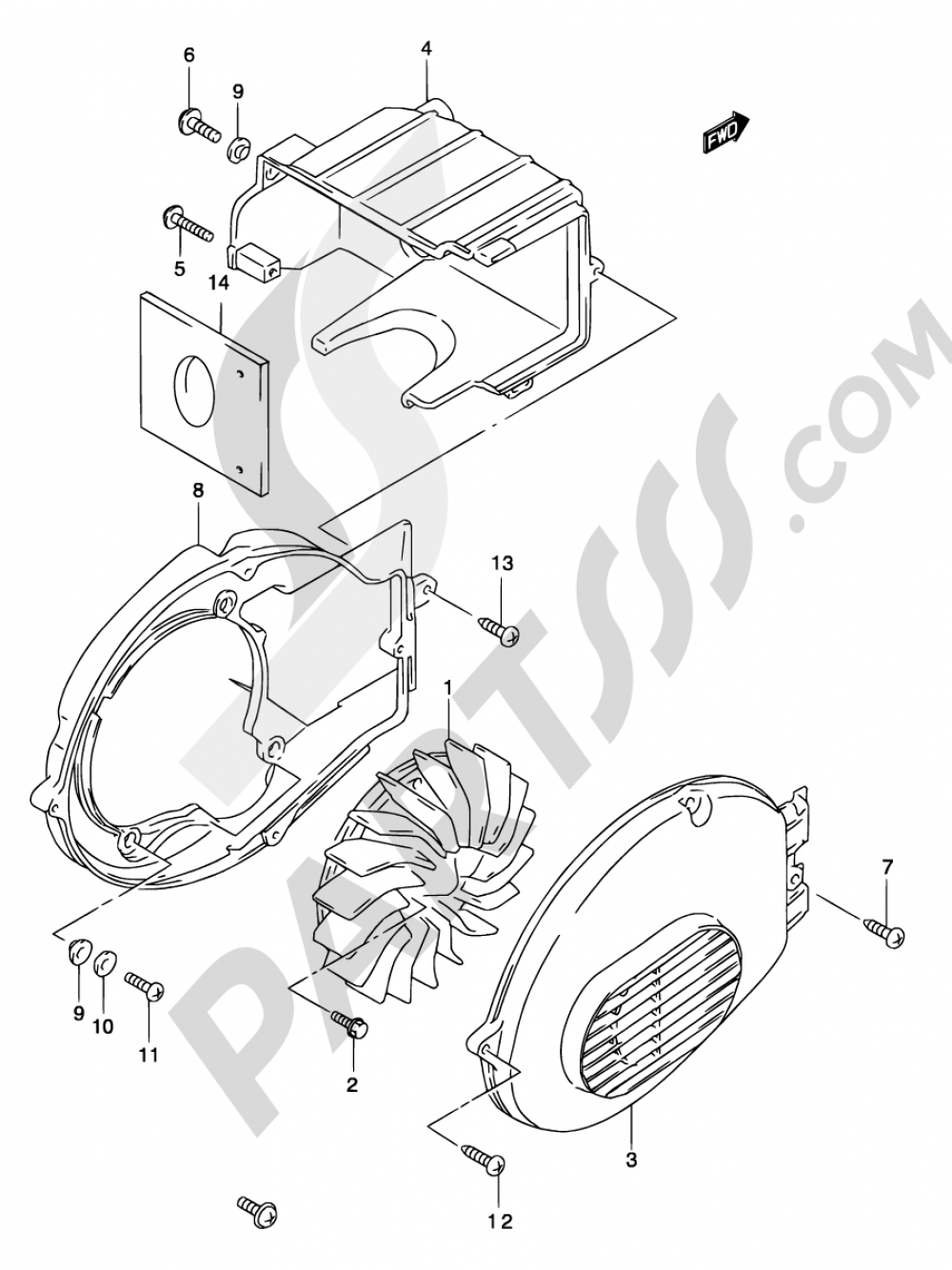11 - COOLING FAN (MODEL AY50) Suzuki KATANA AY50S 2003