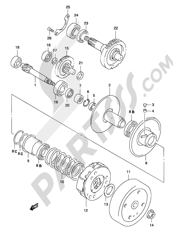 13 - TRANSMISSION (2) (MODEL AY50WR K1/K2) Suzuki KATANA AY50S 2003