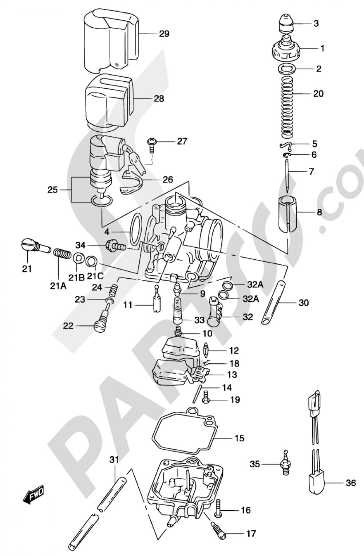 5C - CARBURETOR (MODEL AY50 K3/K4) Suzuki KATANA AY50S 2003