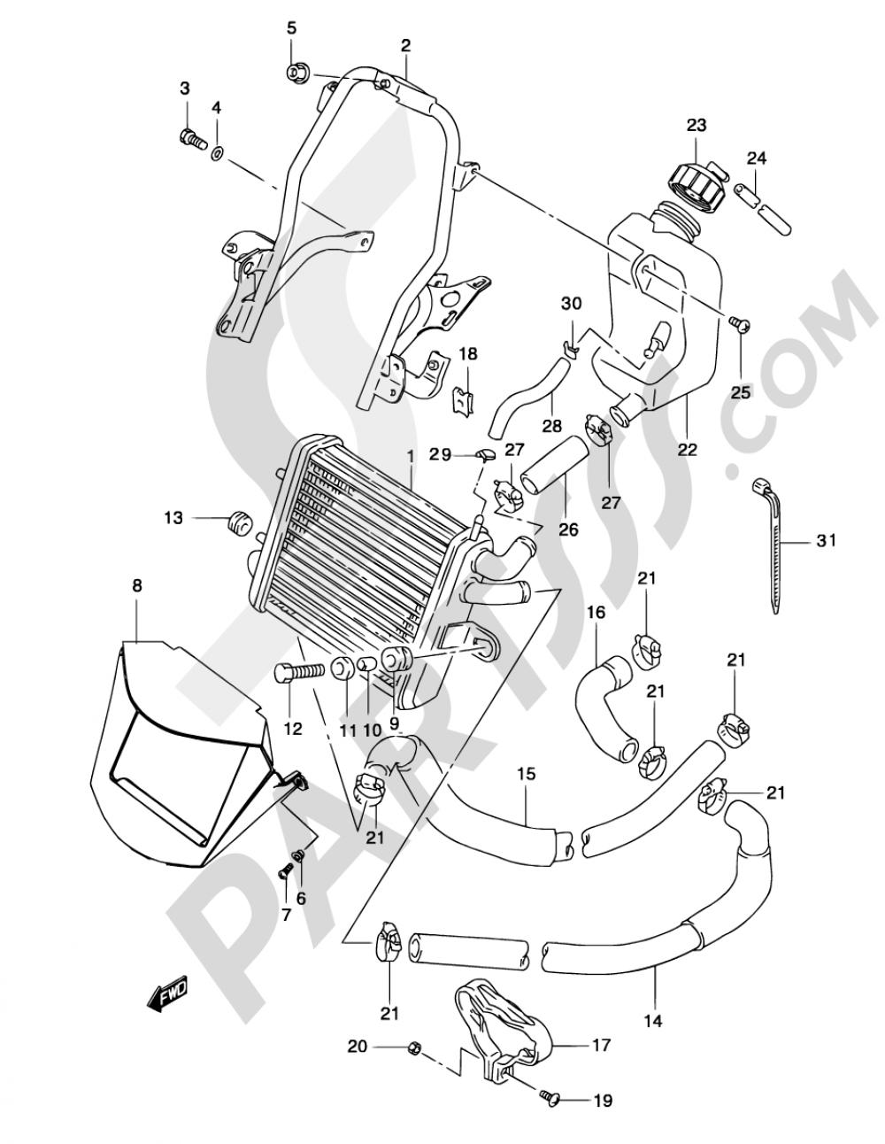10 - RADIATOR (MODEL  AY50WR K1/K2/AY50W K3/K4) Suzuki KATANA AY50WR 2001