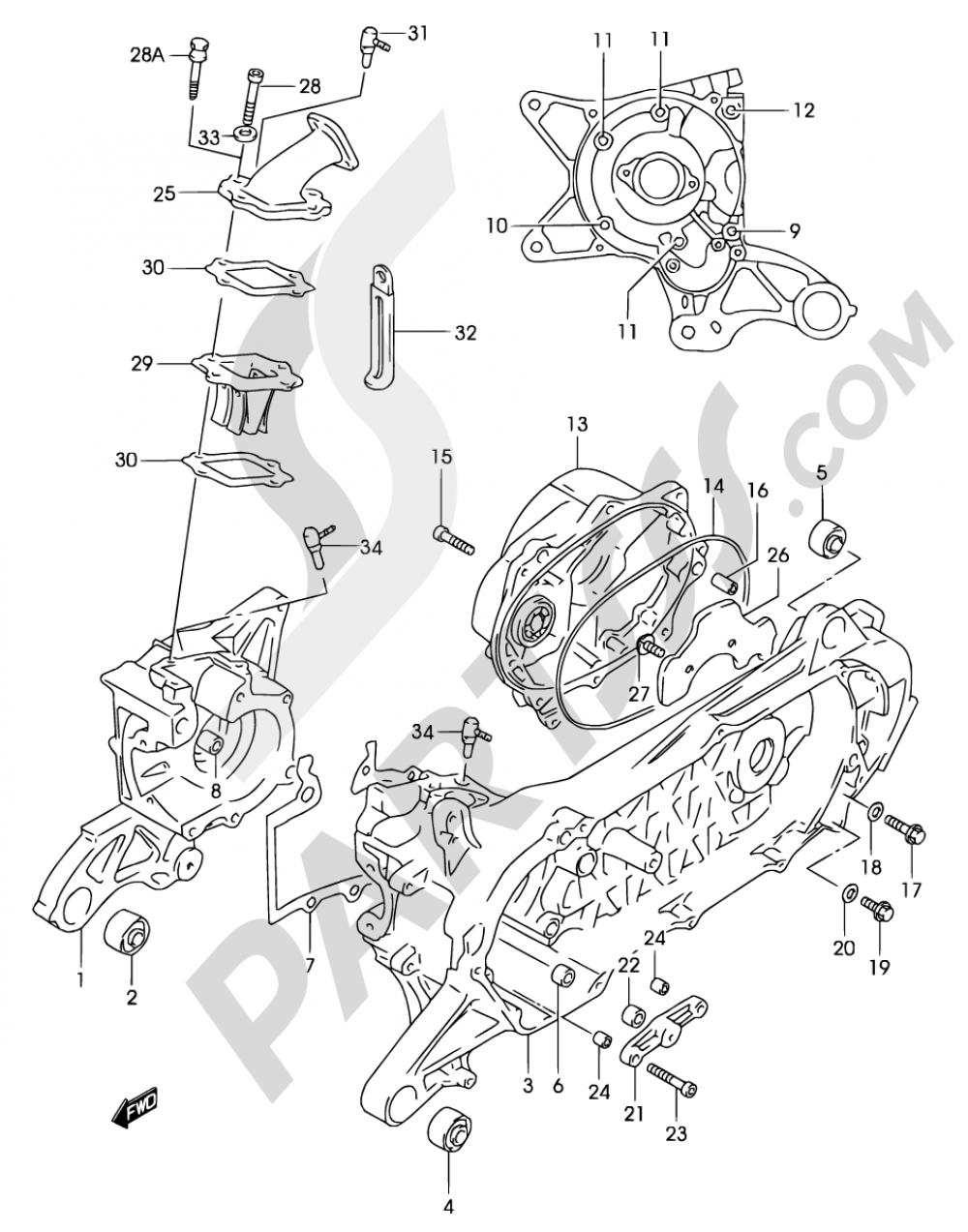 2E - CRANKCASE (MODEL AY50 K3/K4) Suzuki KATANA AY50WR 2001