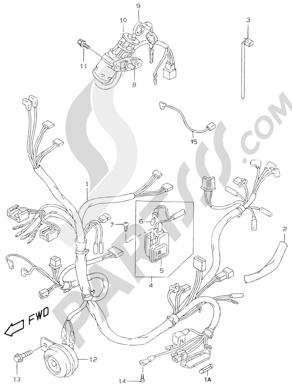 23 - WIRING HARNESS (MODEL V/W/X/Y) Suzuki KATANA AY50WR 1999