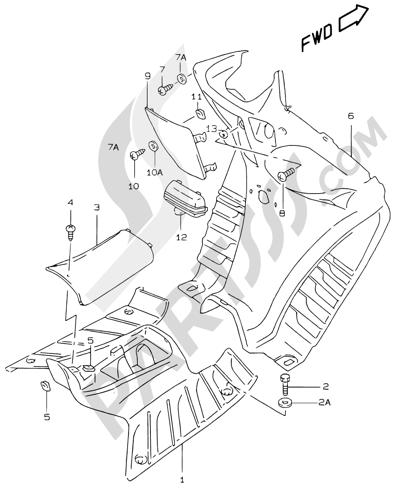 Suzuki KATANA AY50WR 2000 31 - REAR LEG SHIELD