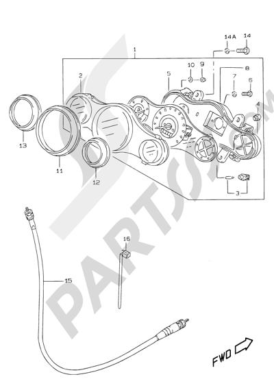 Suzuki KATANA AY50WR 2000 19 - SPEEDOMETER (MODEL V/W/X/Y)