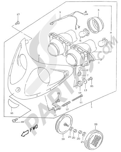 Suzuki KATANA AY50WR 2000 20 - HEADLAMP (MODEL V/W/X/Y)