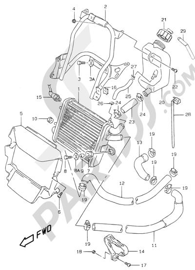 Suzuki KATANA AY50WR 2000 10 - RADIATOR (MODEL AY50W/WRV/W/X/Y)