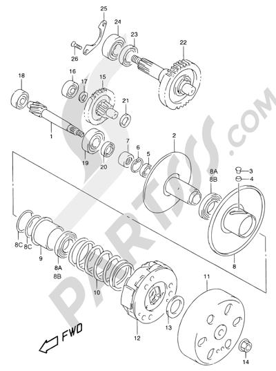 Suzuki KATANA AY50WR 2000 13A - TRANSMISSION (2) (MODEL X/Y)