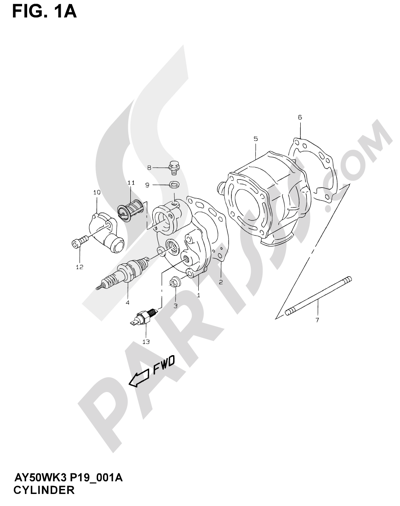 Suzuki KATANA AY50WR 2000 1A - CYLINDER (MODEL AY50WR K1)