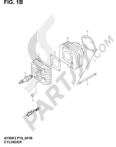 Suzuki KATANA AY50WR 2000 1B - CYLINDER  (MODEL AY50 V/W/X/Y )