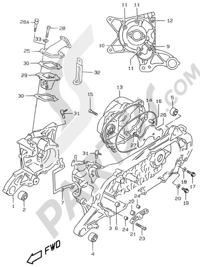 Suzuki KATANA AY50WR 2000 2B - CRANKCASE (MODEL AY50 V/W/X/Y)