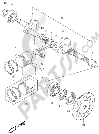 Suzuki KATANA AY50WR 2000 4A - CRANKSHAFT (MODEL AY50WR K1)