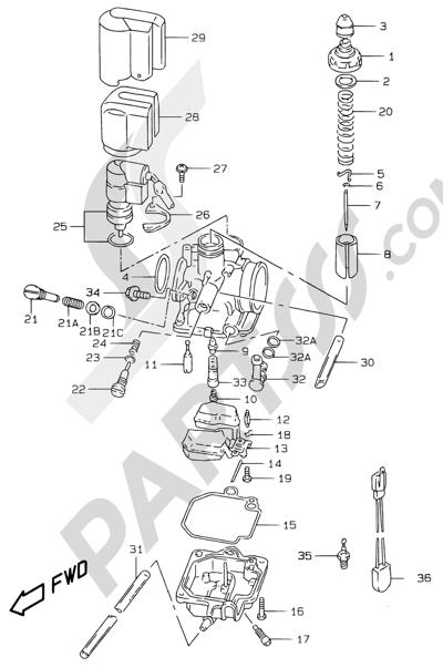 Suzuki KATANA AY50WR 2000 5 - CARBURETOR (MODEL AY50W/WR V/W/X/Y)