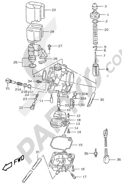 Suzuki KATANA AY50WR 2000 5B - CARBURETOR (MODEL AY50 V/W/X/Y)