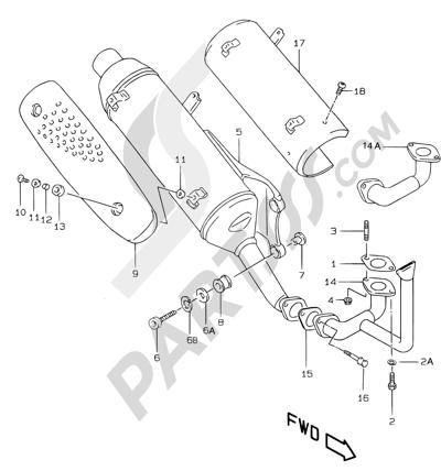 Suzuki KATANA AY50WR 2000 7B - MUFFLER (MODEL X/Y EXCEPT P26 AND AY50 P39 )
