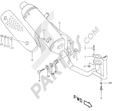 Suzuki KATANA AY50WR 2000 7C - MUFFLER (MODEL X/Y P26)