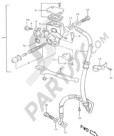 Suzuki KATANA AY50WR 2000 42A - FRONT MASTER CYLINDER (AJP)