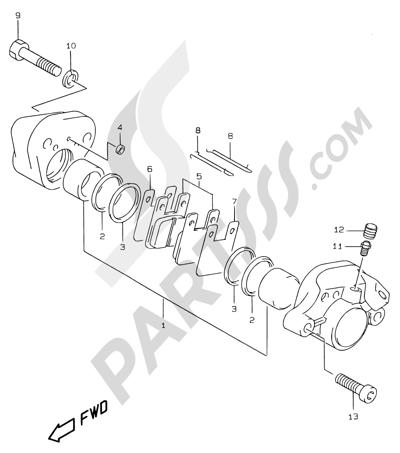 Suzuki KATANA AY50WR 2000 44 - REAR CALIPER (MODEL AY50W/WR X/Y/K1)