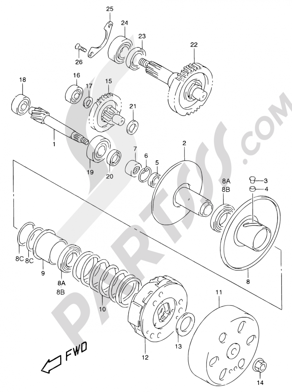 13B - TRANSMISSION (2) (MODEL AY50 K1) Suzuki KATANA AY50WR 2000