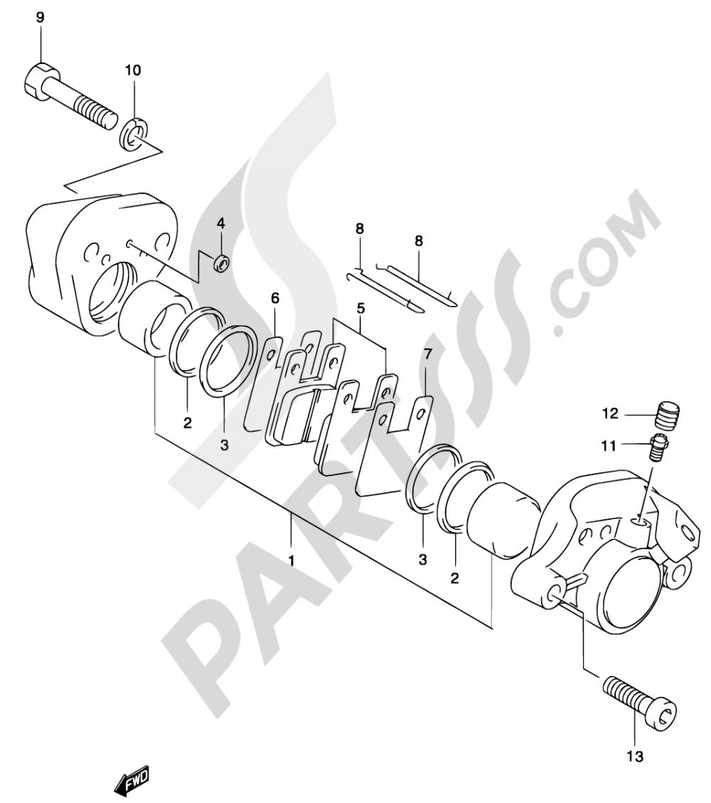 45 - REAR CALIPER (MODEL AY50WR K1/K2/AY50W K3/K4) Suzuki KATANA AY50WS 2003