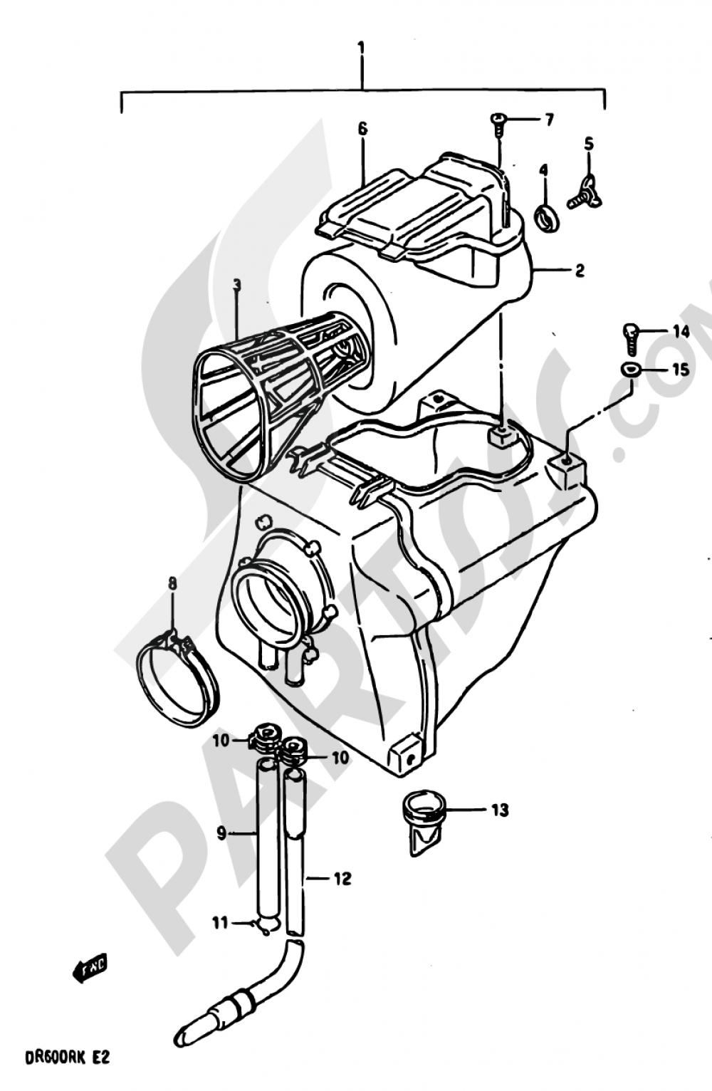 12 - AIR CLEANER Suzuki DR600R 1986