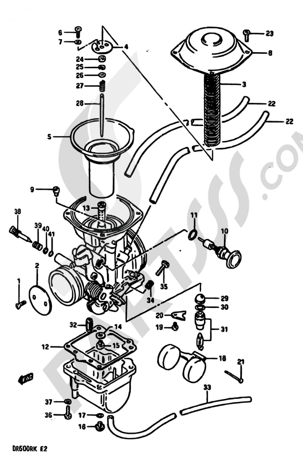 11A - CARBURETOR (MODEL J E24 E.NO.139616~/MODEL K E24) Suzuki DR600R 1988