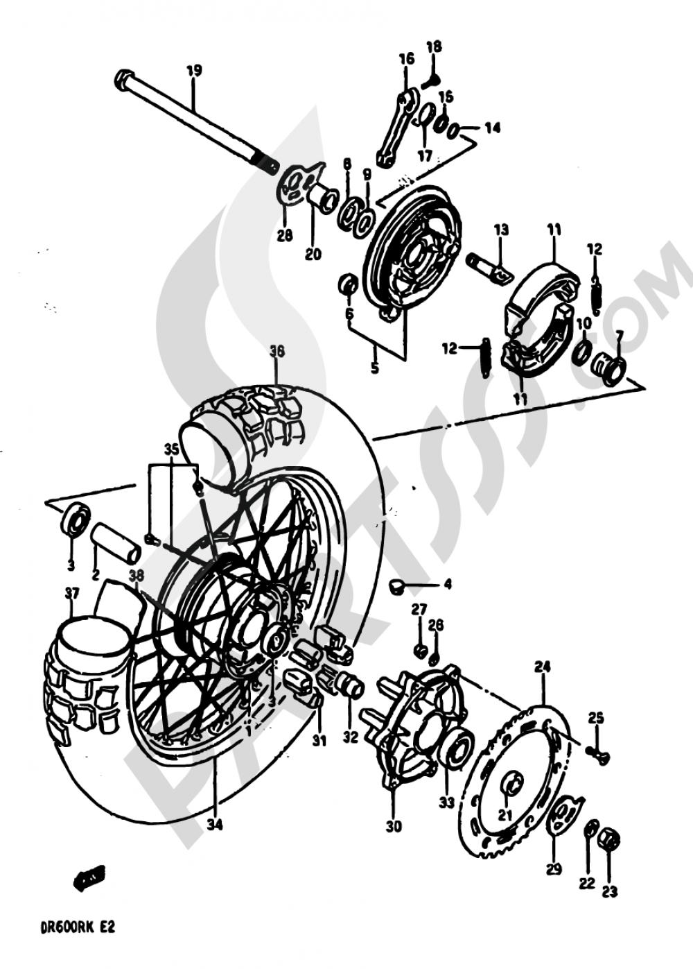 59 - REAR WHEEL (MODEL G/H/J) Suzuki DR600R 1988