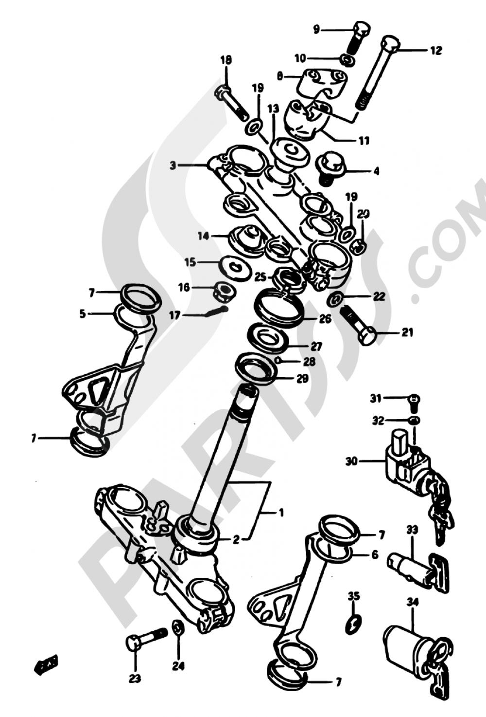 39 - STEERING STEM Suzuki DR600S 1987