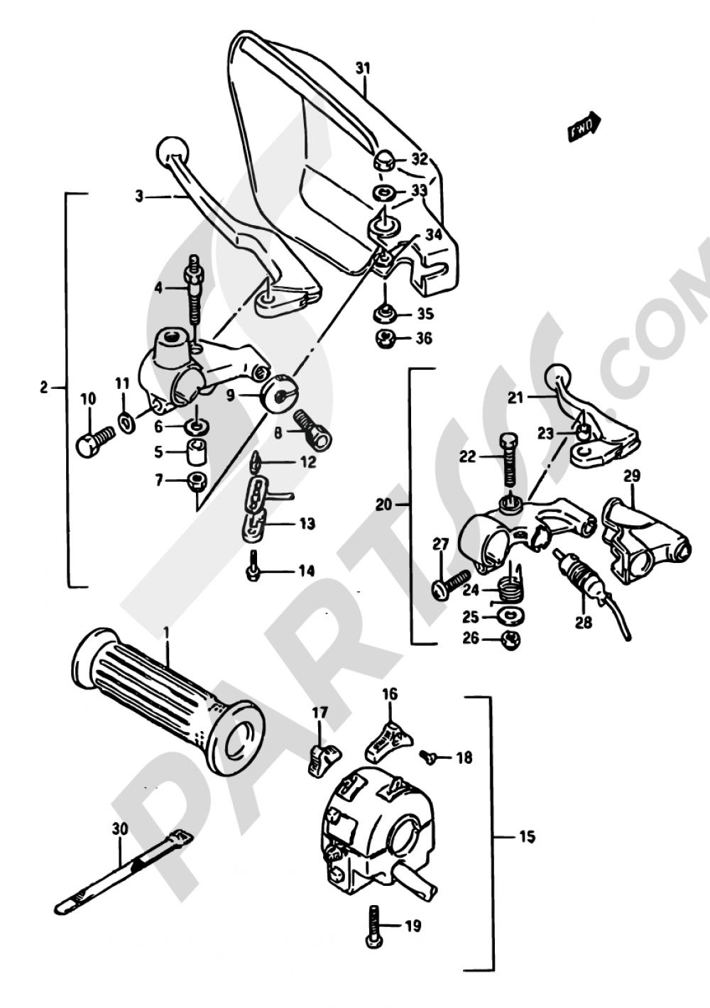 42 - LEFT HANDLE SWITCH (MODEL J) Suzuki DR750S 1988