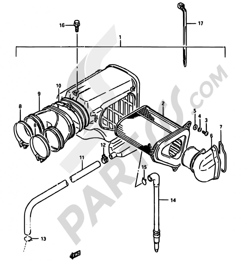 12 - AIR CLEANER Suzuki DR750S 1989