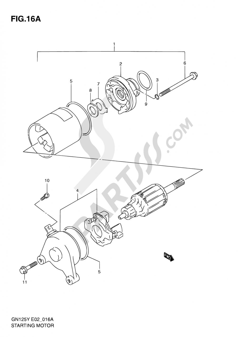 16A - STARTING MOTOR (MODEL K1) Suzuki GN125 2001