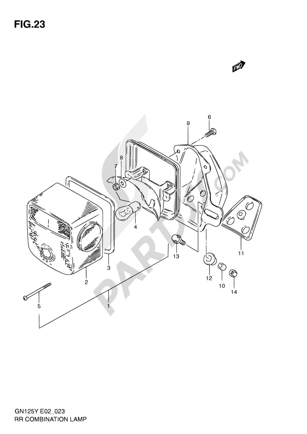 23 - REAR COMBINATION LAMP (MODEL V/W/X E01,E71,P09) Suzuki GN125E 2000