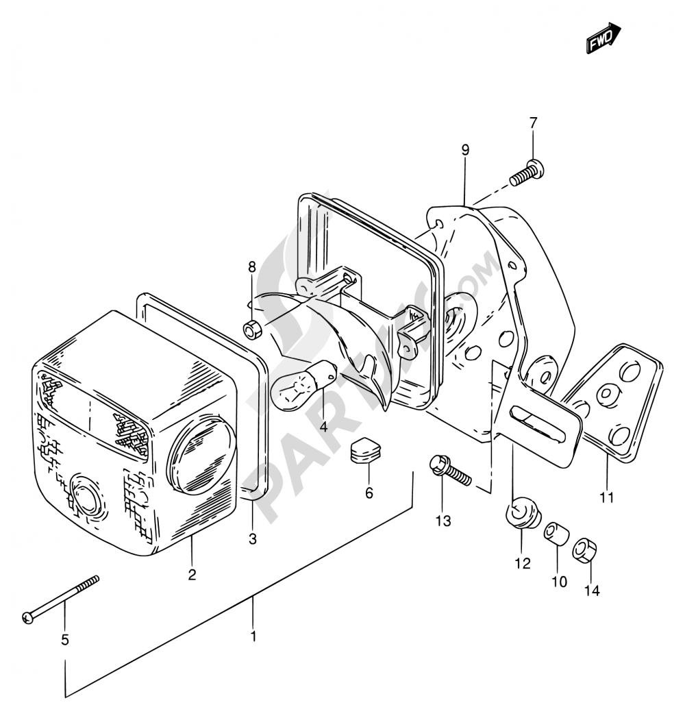 27 - REAR COMBINATION LAMP (MODEL T/W/X E22) Suzuki GN250 2001