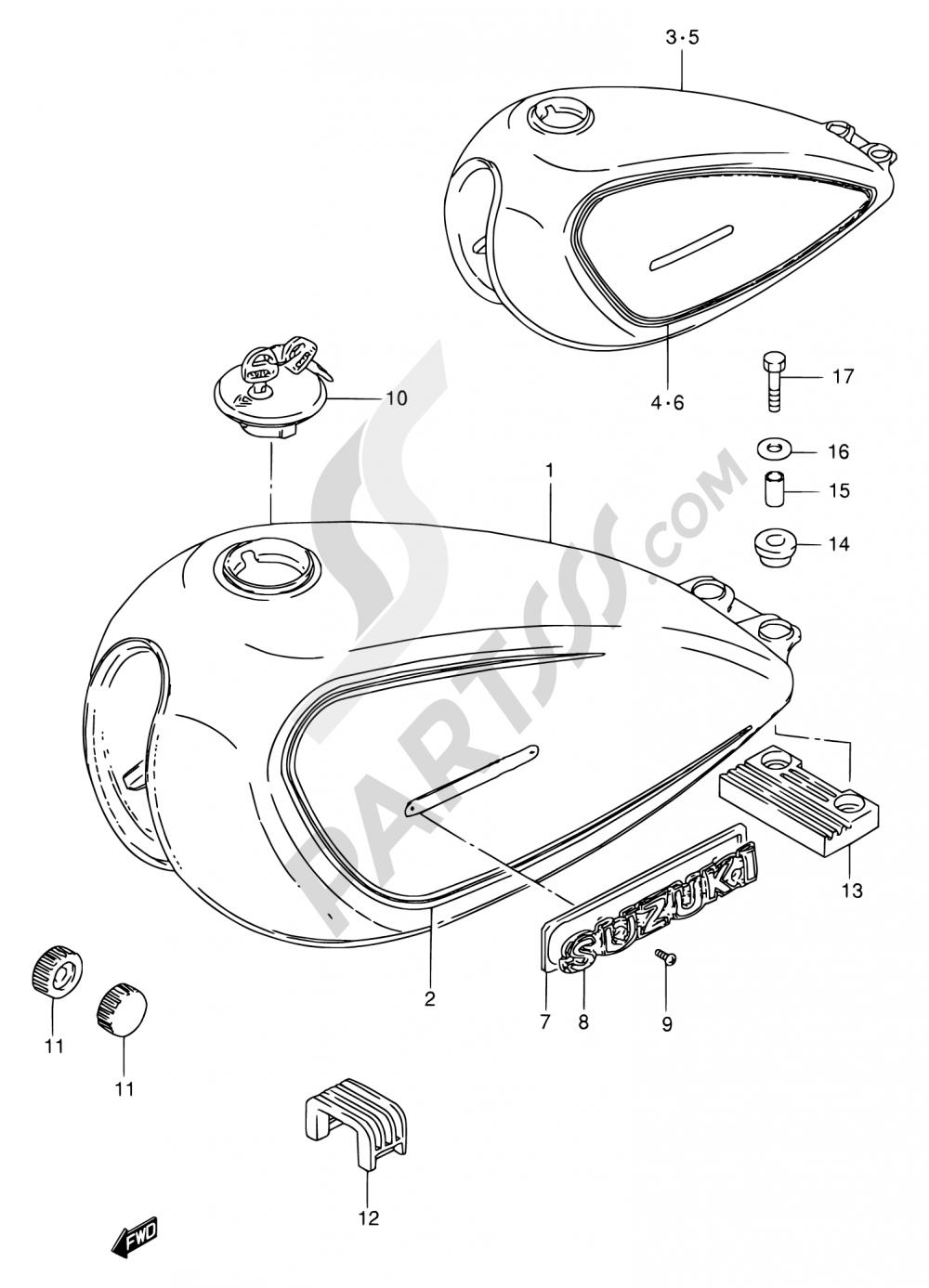 37 - FUEL TANK (MODEL T/W) Suzuki GN250 1998