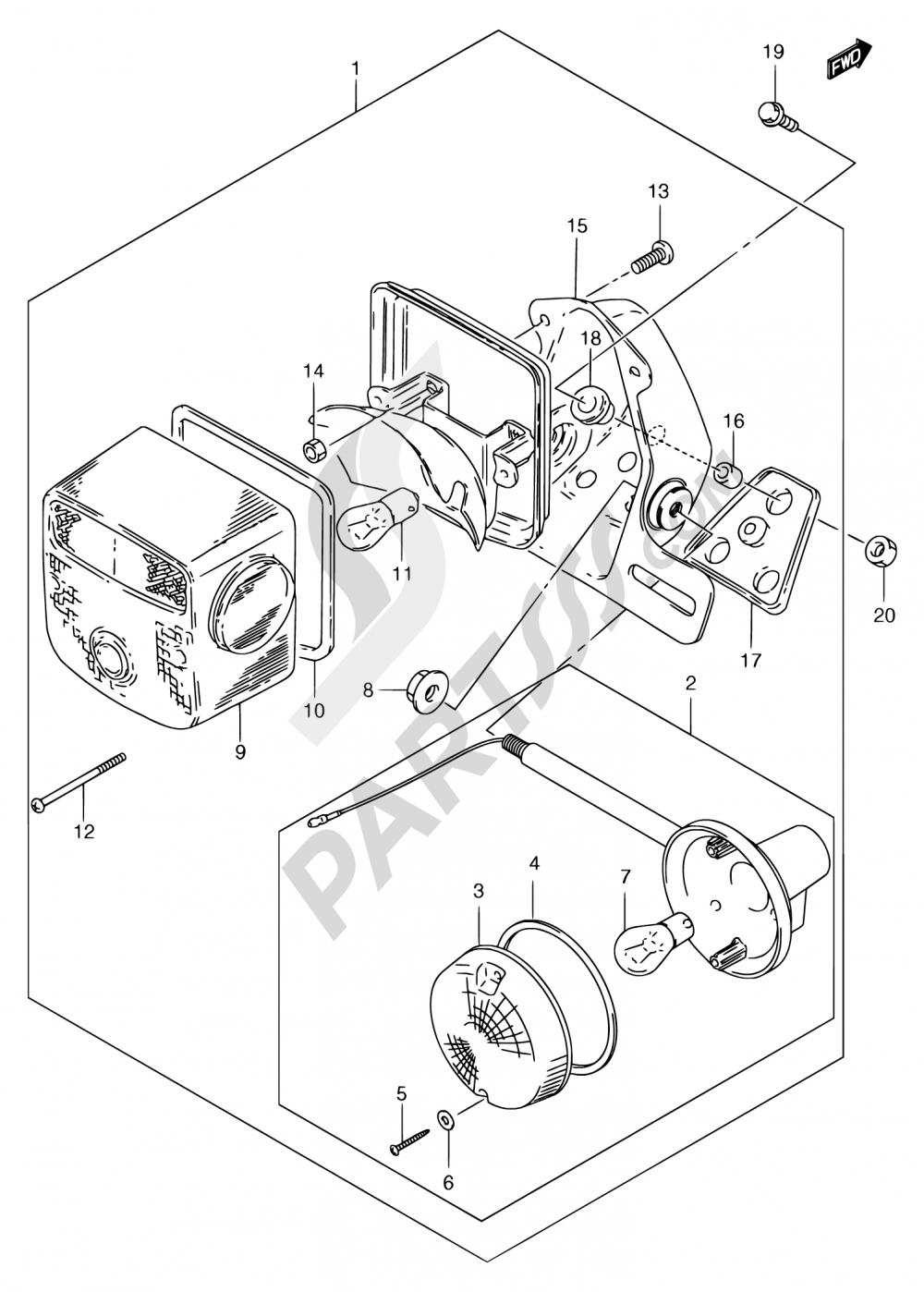 29A - REAR COMBINATION & REAR TURN SIGNAL LAMP (MODEL Y/K1) Suzuki GN250E 2000