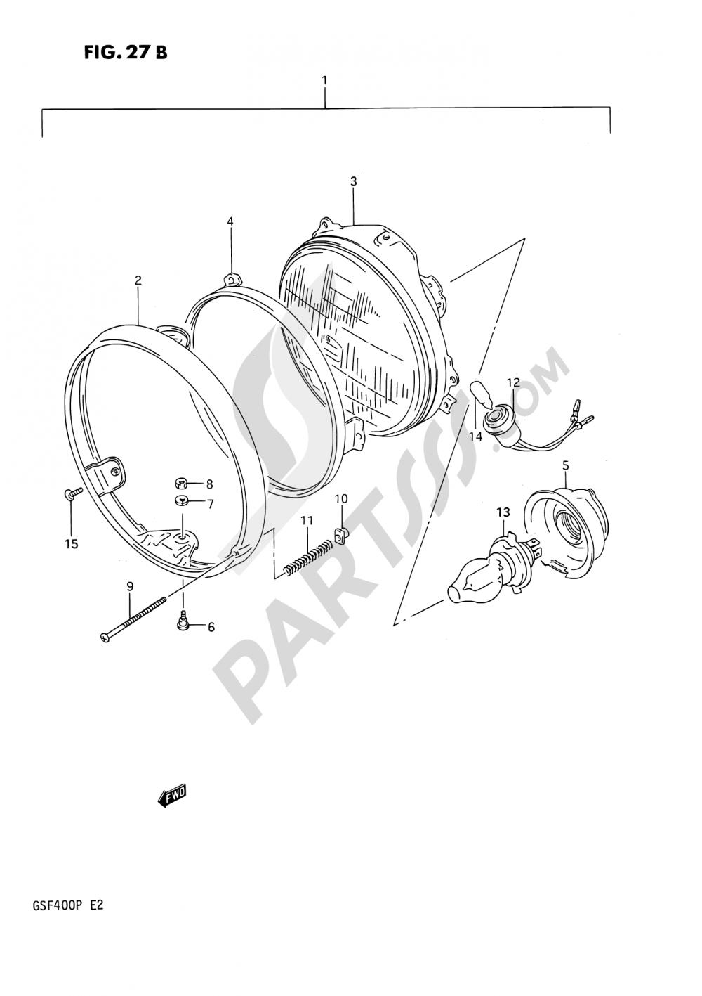 27B - HEADLAMP (MODEL P E04,E16,E21,E22,E25,E34,E53) Suzuki BANDIT GSF400 1992